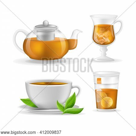 Realistic Glass Custard Transparent Teapot With Hot Fresh Black Tea, Plastic Glass And Ceramic Cup,