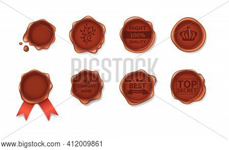 Set Realistic Retro Vintage Red Seal Wax Stamps With Logo Pictograms Labels And Ribbons. Stamp Wax F