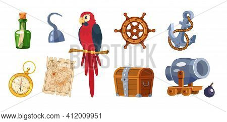 Adventure Pirate Set. Pirate Ship Equipment, Treasure Box, Weapon, Parrot, Compass, Map, Treasure Ch