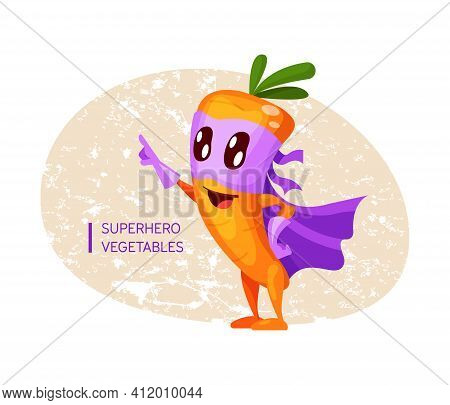 Funny Cartoon Character Fruit Carrot In Superhero Costume At Masks Emotion Points With Hand. Vegetab