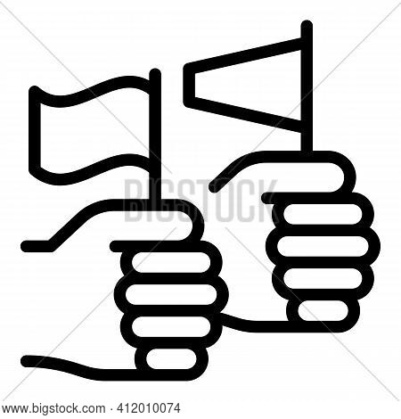 Democracy Hand Flag Icon. Outline Democracy Hand Flag Vector Icon For Web Design Isolated On White B