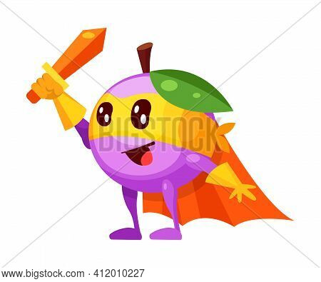 Funny Cartoon Character Fruit Plum In Superhero Costume At Masks Emotion With Hands Up. Vegetable Ch