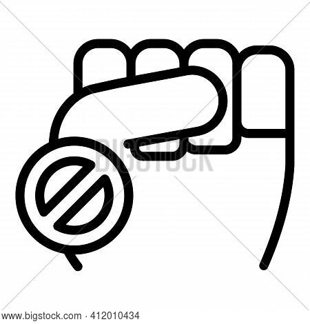 Democracy Fist Icon. Outline Democracy Fist Vector Icon For Web Design Isolated On White Background