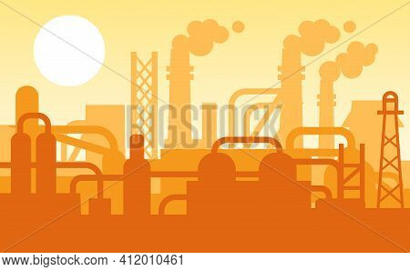 Panoramic Industrial Silhouette Landscape. Evening View Of City With Factory Buildings, Pipeline, Fa