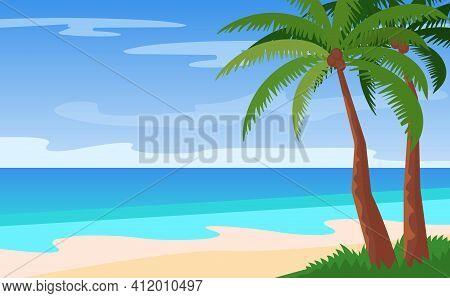 Vector Cartoon Landscape Of Empty Island, Beautiful Beach Overlooking The Sea, Palms, Scorching Sun.