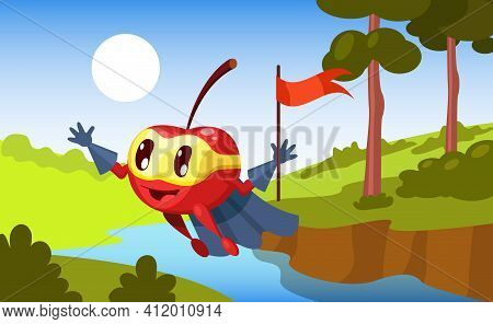 Cherry Defender, Superhero Character In Colorful Suit And Armband, With Flag In Hand, Flying Over Fo