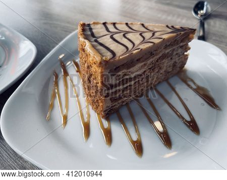 Traditional Esterhazy Piece Of Cake On A White Plate
