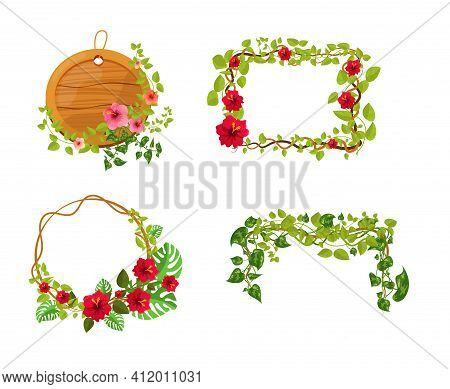 Liana Branches Frames. Rainforest Leaves And Tropical Liana. Game Elements Plants Of Jungle And Fram