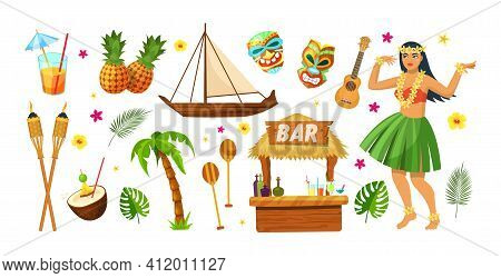 Hawaii Party. Hawaiian Traditional Elements. Cocktails, Pineapples, Torch, Ship Hawaiian Canoe, Palm