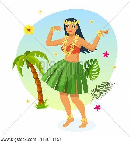 Hawaiian Party. Hawaiian Girl In Traditional Dress Made Of Leaves, Dancing Among Palm Trees And Trop