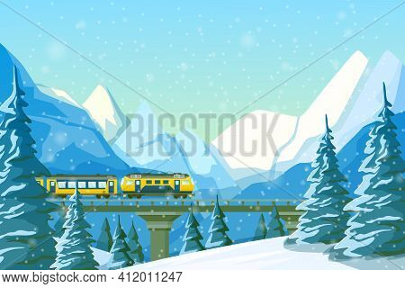 High-speed Train Traveling By Rail, On A Bridge, Among Mountains, Snow-covered Hills, Winter Forest