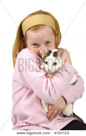 Red Head Girl Holding A White Cat