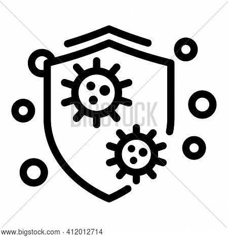 Virus Attack Shield Icon. Outline Virus Attack Shield Vector Icon For Web Design Isolated On White B