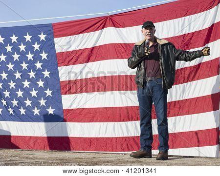 Brent Regan Speaks At Rally.