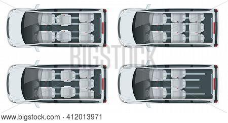 Minivan With Premium Touches, Passenger Van Or Minivan Car Vector Template On White Background. Mpv,