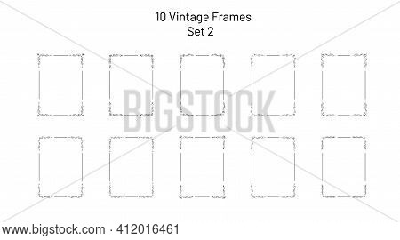 Collection Of 10 Nice Retro Ornate Frames, Corner Flourishes, Collection Of Exclusive Rectangle Vign