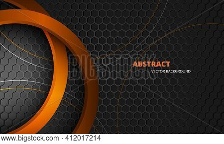 Futuristic Dark Gray And Orange Abstract Vector Background With Hexagon Carbon Fiber. Dark Abstract