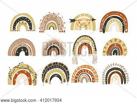 Scandinavian Vector Boho Rainbow Set. Perfect For Children Room Wall Decor, Textile And Kids Design.