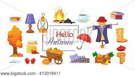 Set Of Cartoon Elements Of Autumn. Tree With Leaves, Raincoat, Warm Clothes, Book, Kerosene Lamp, Ru
