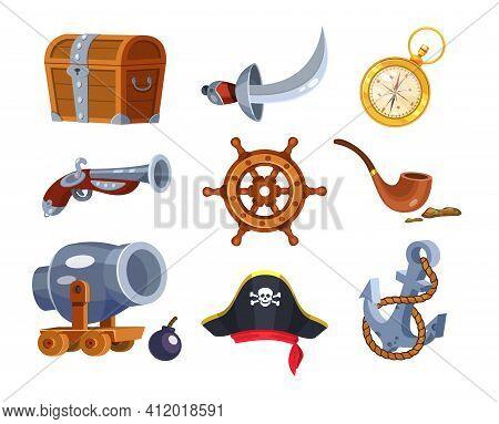 Adventure Pirate Set. Pirate Ship Equipment, Treasure Box, Weapon, Parrot, Compass, Hat, Treasure Ch