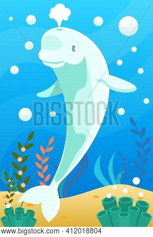 Cute Smiling Animals And Underwater World. Cute Beluga Whale Splashes With Stream Of Water. Undersea
