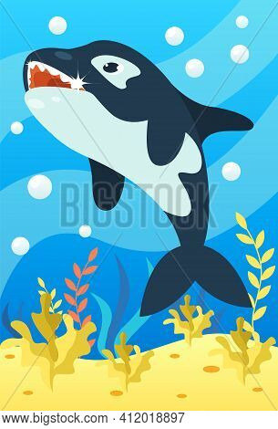 Cute Smiling Animals And Underwater World. Cute Killer Whale Smiles And Shows Teeth. Undersea World