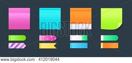 Sticky Notebook Paper. Set Colorful Memo, Blank Pages Sheets, Sticky Pieces Of Paper. Adhesive Stick