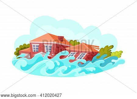 Natural Disasters Floods. Flooding With The Destruction Of Houses. Cataclysm, Catastrophe, Destructi
