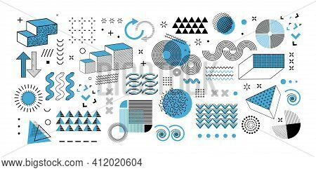Memphis Graphic Retro Graphic, Minimal Graphic Geometric Elements Lines. Vintage Geometric Shapes Ab