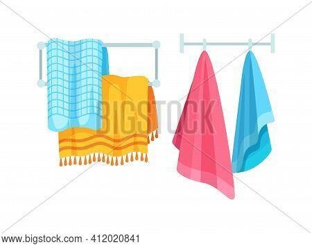 Bath Accessories Cartoon Set. Bath Towels. Clothes Dryer, Hanging Color Cloth Towels. Towel Bath For