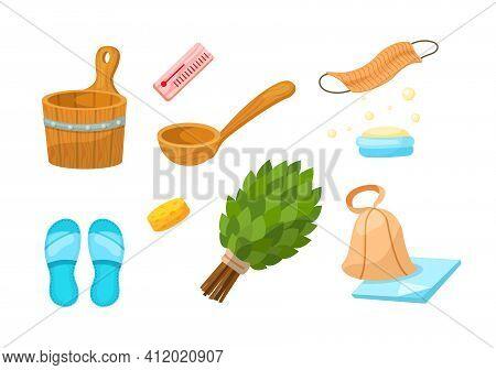 Bath Accessories Cartoon Set. Sauna Barrel, Ladle, Slippers, Broom, Washcloth, Thermometer, Soap, Ha