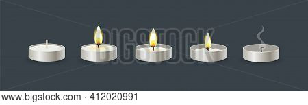 Burning Candles Flame Set. Cartoon Burning Wax Small Candle In Stand On The Different Stages Of Burn