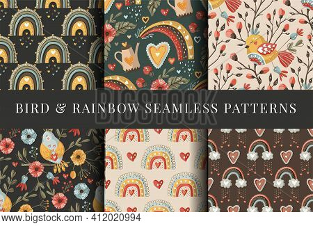 Boho Bird Folk Art Flower Seamless Pattern Set. Colorful Ornate Vector Ornament Collection. Bohemian