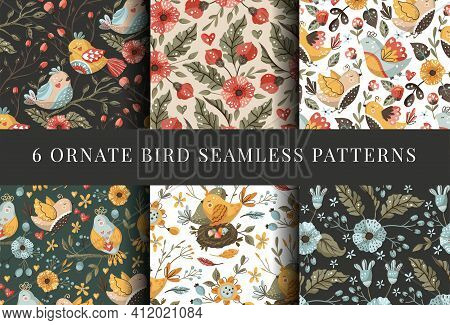 Bird And Flower Seamless Pattern Set. Boho Vector Ethnic Ornament Art. Textile Fabric Collection For