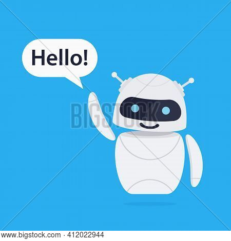 Chatbot Robot Concept. Cute Bot Say Users Hello. Chatbot Greets. Online Consultation. Bot Holds Spee