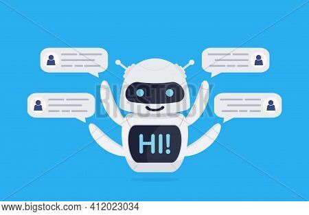 Chatbot Robot Concept. Cute Bot Say Users Hi. Chatbot Greets. Online Consultation. Bot Holds Speech