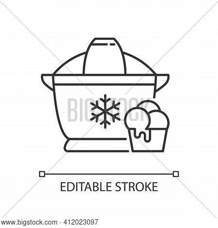 Ice Cream Maker Linear Icon. Freezer Gadget. Icecream Machine. Small Kitchen Appliance. Thin Line Cu