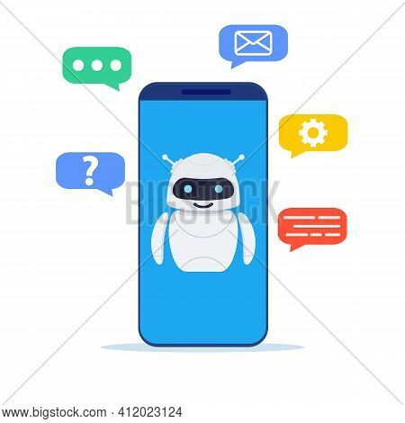Ai Technology, Smart Chat Bot. Chatbot Ai And Customer Service Concept. Customer Support. Helping. V