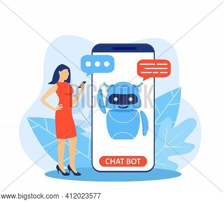 Chatbot Ai And Customer Service Concept. Woman Talking With Chatbot In A Big Smartphone Screen. Ai R