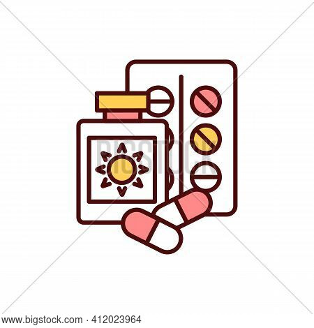 Sun-sensitizing Drugs Rgb Color Icon. Allergic Reaction. Photosensitive, Phototoxic Drugs. Sun Expos
