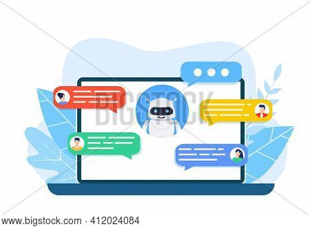 Chatbot Robot Concept. Dialog Help Service. User And Bot Speech Messages. People Chatting With Cute