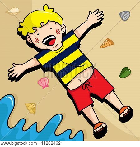 Vector Illustration Of A Kid Seem Very Happy Lay Down On The Sand At The Beach. Kids Illustration. H