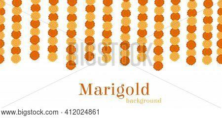Elegant Yellow Indian Vector Marigold Flowers Garland Background. Gorgeous Orange Floral Decoration