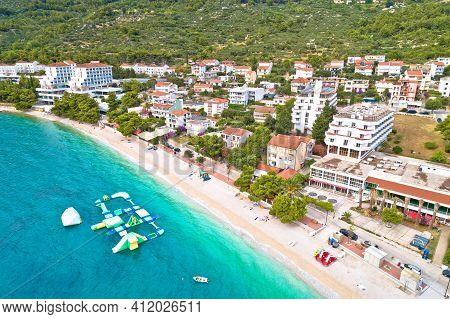 Gradac Village On Makarska Riviera Beach Aerial View, Dalmatia Region Of Croatia