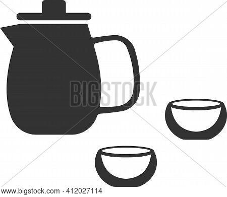 Vector Icon Of A Carafe With Two Glasses For Drinks.
