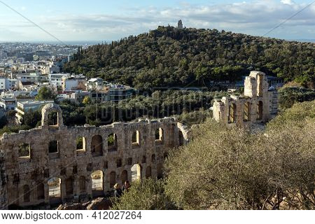 Odeon Of Herodes Atticus In The Acropolis Of Athens, Attica, Greece
