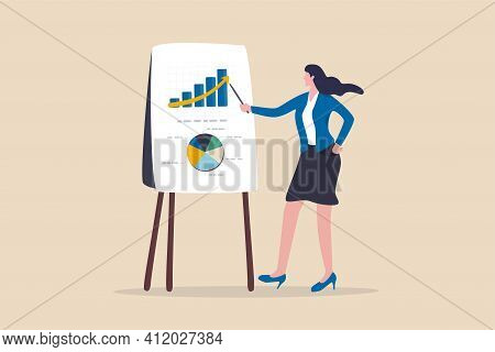 Financial Data Analysis Report, Statistic Or Economic Research Concept, Businesswoman Presenting Gra