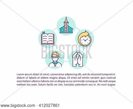 Church Attendance Concept Icon With Text. Praying To God. Christian Believer, Catholic Priest. Ppt P