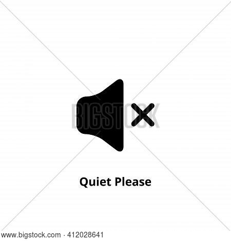 Quiet Please Icon On White Background. Keep Silence Symbol. Silent Mode Concept. Vector
