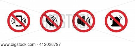 Silent Mode Set Icon. Forbidden Sign. Turn Off Sound Pictogram. Prohibited Signs For Public Place. V